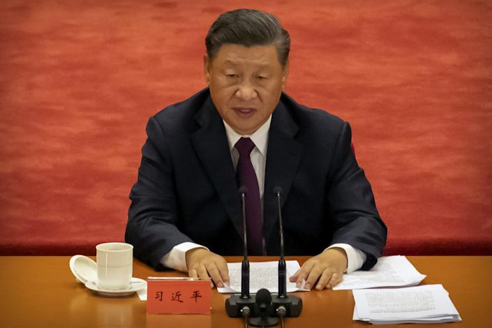 Chinese President Xi Jinping speaks during an event at the Great Hall of the People in Beijing.