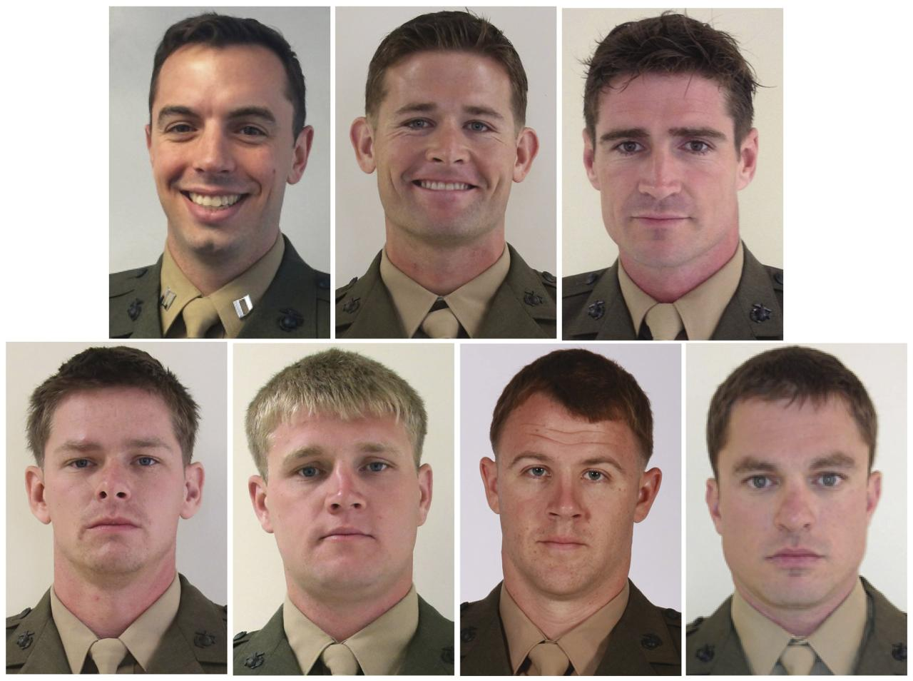 The seven U.S. Marines who were killed when their UH-60 Black Hawk helicopter crashed into the Santa Rosa Sound off the Florida panhandle on Tuesday night are seen in a combination photo of U.S. Marine handout images released March 13, 2015.  The seven Marines were identified as (top row, L to R): Captain Stanford Shaw III, 31, of Basking Ridge, New Jersey; Staff Sergeant Trevor Blaylock, 29, of Lake Orion, Michigan; Staff Sergeant Liam Flynn, 33, of New York City; (bottom row, L to R): Staff Sergeant Marcus Bawol, 26, of Warren, Michigan; Staff Sergeant Kerry Kemp, 27, of Port Washington, Wisconsin; Staff Sergeant Andrew Seif, 26, of Holland, Michigan and Master Sergeant Thomas Saunders, 33, of Williamsburg, Virginia.  REUTERS/US Marine Corps/Handout via Reuters  (UNITED STATES - Tags: TRANSPORT DISASTER MILITARY OBITUARY) THIS IMAGE HAS BEEN SUPPLIED BY A THIRD PARTY. IT IS DISTRIBUTED, EXACTLY AS RECEIVED BY REUTERS, AS A SERVICE TO CLIENTS. FOR EDITORIAL USE ONLY. NOT FOR SALE FOR MARKETING OR ADVERTISING CAMPAIGNS