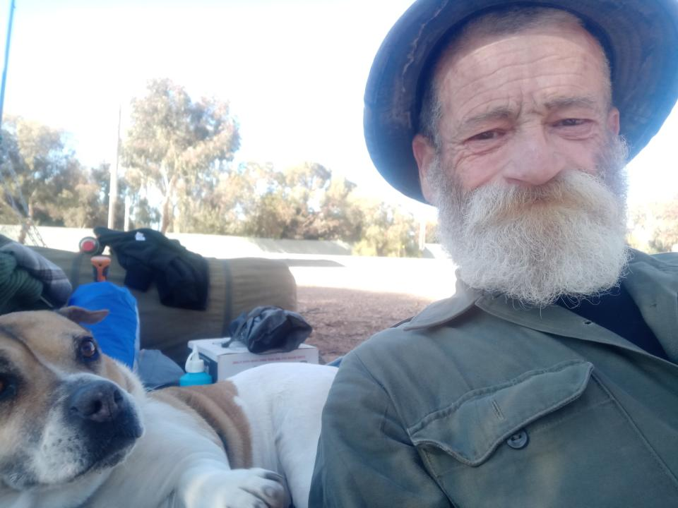 Paul Murcott and his dog RJ have been walking to Canberra from Adelaide since February 2018 for suicide awareness. Source: Facebook / A Trek for Shona Mai