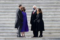 <p>As Donald Trump famously broke with tradition, choosing to shun the inauguration ceremony and depart for his Florida residence of Mar-A-Lago early, his Vice President Pence continued with the status quo. As Joe and Jill Biden did not escort the former president and First Lady down the stairs of the US Capitol, Kamala and Doug Emhoff did with Mike and Karen Pence.</p>