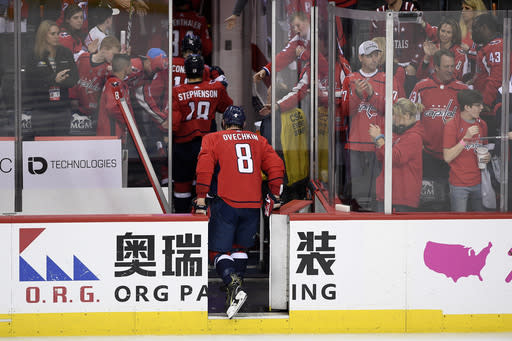 Washington Capitals left wing Alex Ovechkin (8), of Russia, leaves the ice after Game 7 of an NHL hockey first-round playoff series against the Carolina Hurricanes, Wednesday, April 24, 2019, in Washington. The Hurricanes won 4-3 in double overtime. (AP Photo/Nick Wass)