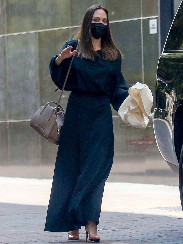 Angelina Jolie walking through Beverly Hills after having made the news for her landing on Instagram