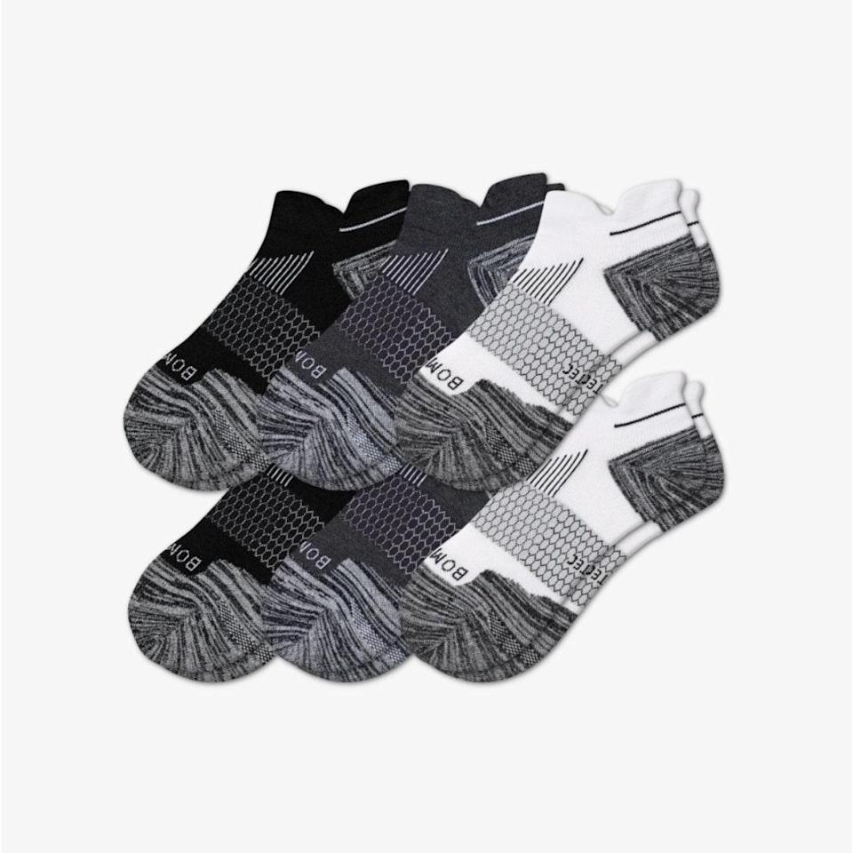 """$91.2, Bombas. <a href=""""https://bombas.com/products/womens-performance-running-ankle-sock-6-pack?variant=multi-6"""" rel=""""nofollow noopener"""" target=""""_blank"""" data-ylk=""""slk:Get it now!"""" class=""""link rapid-noclick-resp"""">Get it now!</a>"""