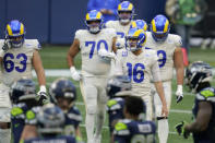 Los Angeles Rams quarterback Jared Goff (16) walks off the field after a play against the Seattle Seahawks during the second half of an NFL football game, Sunday, Dec. 27, 2020, in Seattle. (AP Photo/Elaine Thompson)