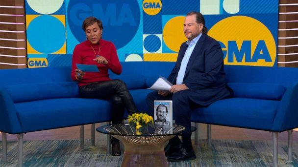 PHOTO: Salesforce founder and CEO Marc Benioff talks to 'GMA' about his new book 'Trailblazer.' (ABC News)