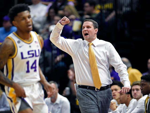 LSU head coach Will Wade shouts instructions to his players in the first half of an NCAA college basketball game, Tuesday, Feb. 26, 2019, in Baton Rouge, La. LSU won 66-55. (AP Photo/Bill Feig)