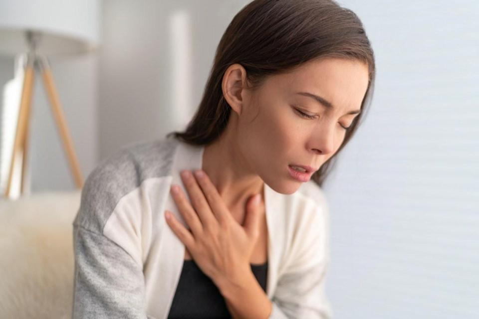in pain touching chest respiratory symptoms fever, coughing, body aches