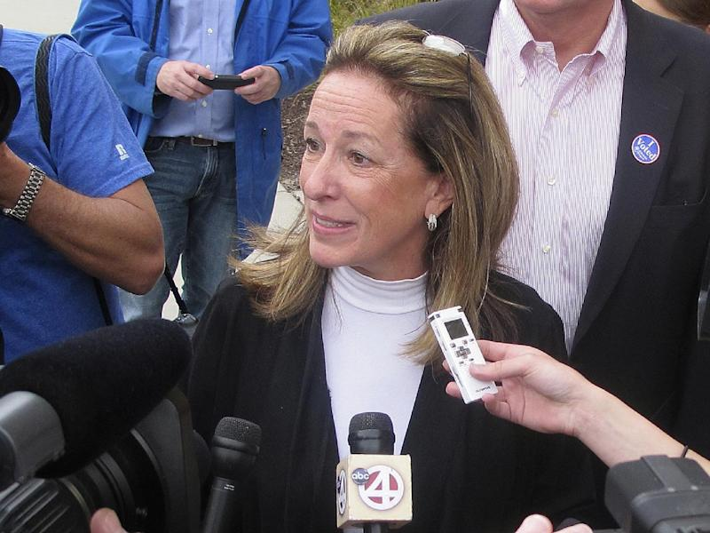 Elizabeth Colbert Busch, the sister of political satirist Stephen Colbert, speaks to the media after voting Tuesday, May 7, 2013, in Charleston, S.C. Colbert Busch, 58, is running against Former South Carolina Gov. Mark Sanford for the 1st District congressional seat. (AP Photo/Bruce Smith)
