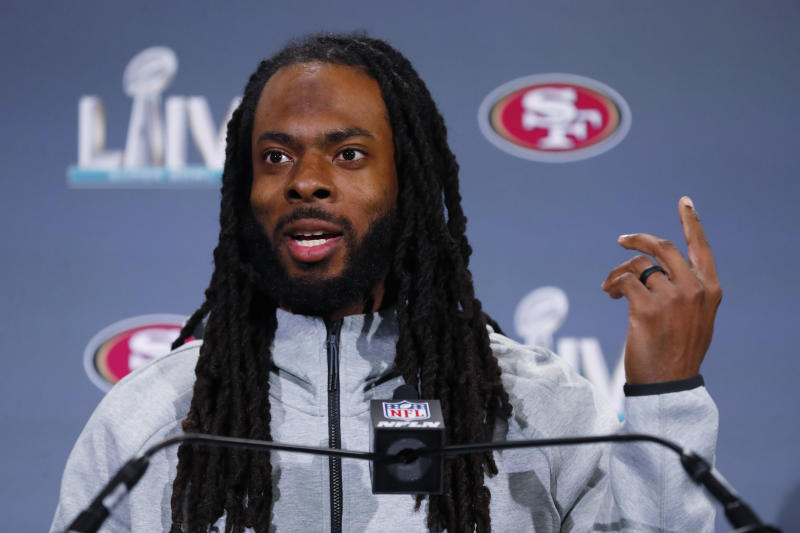 Richard Sherman's long-standing beef with NFL drug testing continues. (AP Photo/Wilfredo Lee)