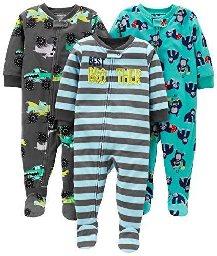 Simple Joys by Carter's 3-Pack Flame Resistant Fleece Footed Pajamas Infant-And-Toddler-Pajama-Sets, Brother/Trucks/Gorillas, 12 Months, Pacco da 3