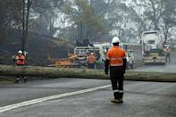 Electricity firms have started reconnecting power after bushfires destroyed utility pools