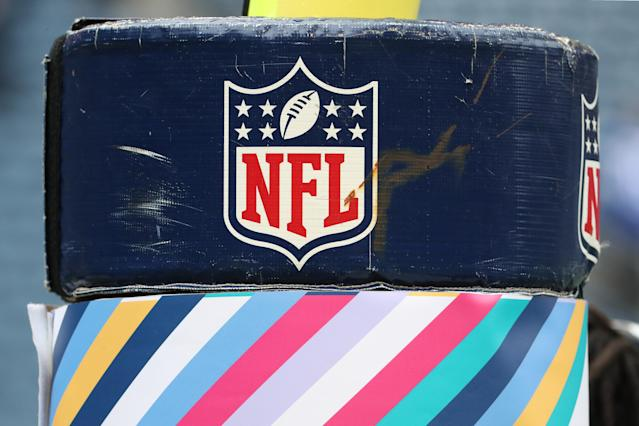 SEATTLE, WASHINGTON - OCTOBER 20: The NFL logo displayed on a goalpost at CenturyLink Field on October 20, 2019 in Seattle, Washington. (Photo by Abbie Parr/Getty Images)