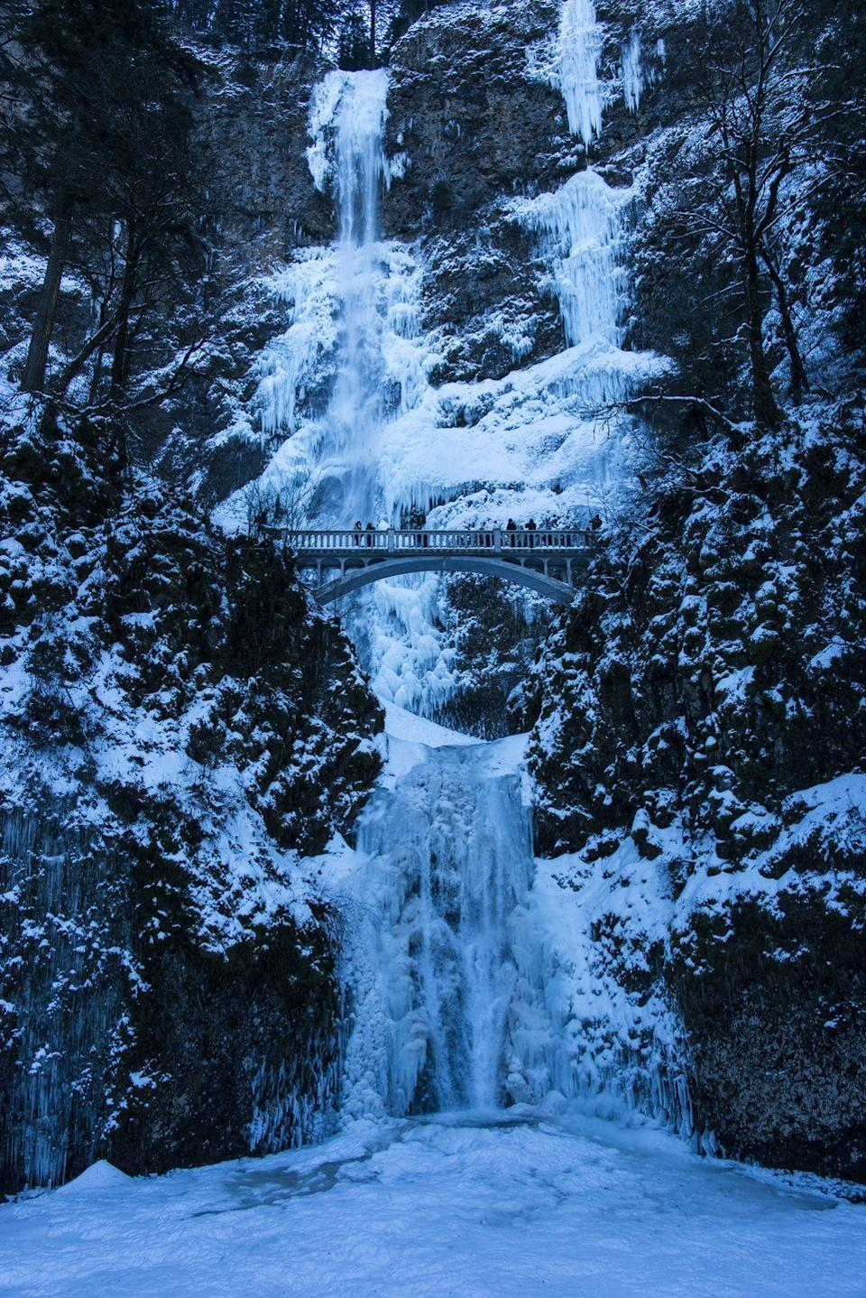<p>Just outside of Portland, Oregon you can see the 620 foot Multnomah Falls up close and personal from the bridge walkway at its halfway point.</p>