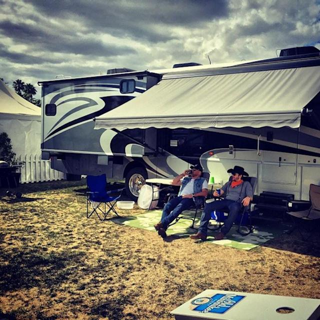 """<p>Ashton Kutcher dusted off his cowboy boots and broke out his RV for the Stagecoach country music festival. The actor is certainly an RV — and road trip — enthusiast. He and his wife, Mila Kunis, spent their honeymoon road-tripping in an RV up to Yosemite National Park. (Photo: <a href=""""https://www.instagram.com/p/16mgOrnJ4u/?taken-by=aplusk"""" rel=""""nofollow noopener"""" target=""""_blank"""" data-ylk=""""slk:Ashton Kutcher via Instagram"""" class=""""link rapid-noclick-resp"""">Ashton Kutcher via Instagram</a>)<br><br></p>"""
