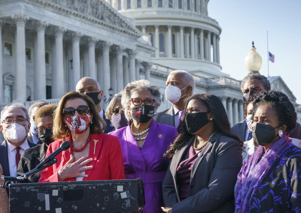 From left, House Speaker Nancy Pelosi, D-Calif., joins Rep. Joyce Beatty, D-Ohio, Rep. Cori Bush, D-Mo., Rep. Sheila Jackson Lee, D-Tex., and the other members of the Congressional Black Caucus, to make a statement on the verdict in the murder trial of former Minneapolis police Officer Derek Chauvin in the death of George Floyd, on Capitol Hill in Washington, Tuesday, April 20, 2021. (AP Photo/J. Scott Applewhite)