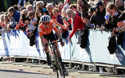 <span>Van Vleuten attacked 45 kilometres into the 149.4km race from Bradford to Harrogate and never looked back.</span> <span>Credit: AP </span>