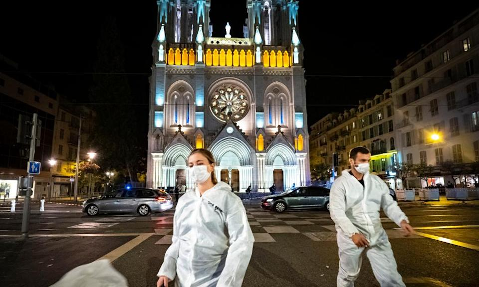 Forensic officers in front of Notre-Dame basilica in Nice last night