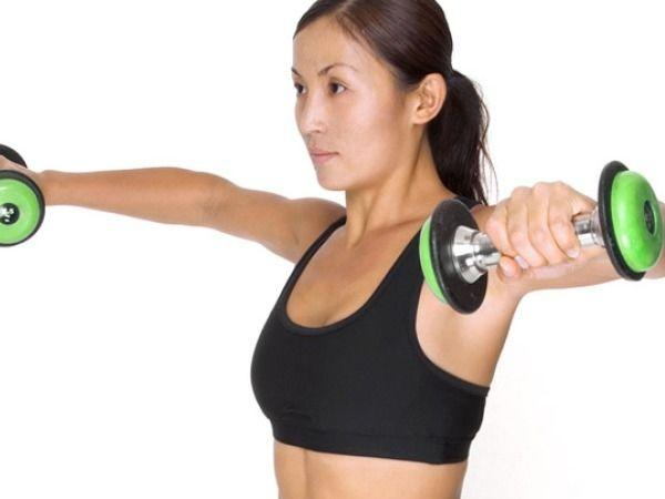 <p>Get a pair of dumbbells, as they help burn fat when used in various exercises. Do curls, squats, lunges, rows and kickbacks using dumbbells for an effective workout.</p>