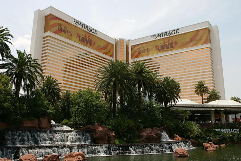 The Mirage hotel and casino advertises The Beales LOVE show in 2006 in Las Vegas: Ethan Miller/Getty Images