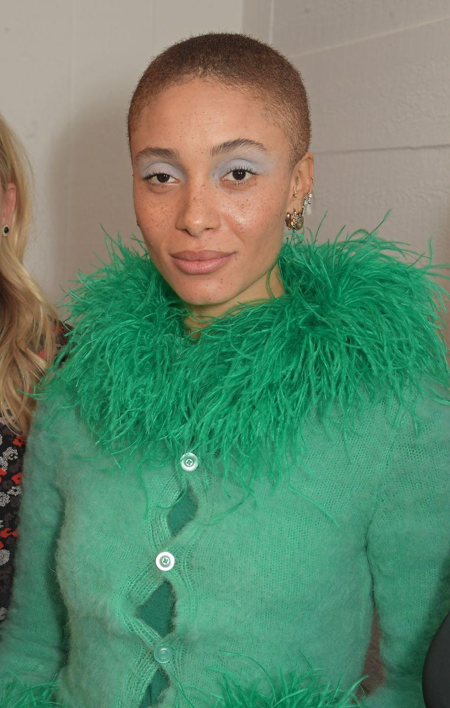 """<p>Adwoa Aboah wrote a powerful essay on her relationship with her hair for <a href=""""https://www.teenvogue.com/story/adwoa-aboah-model-shaved-head"""" rel=""""nofollow noopener"""" target=""""_blank"""" data-ylk=""""slk:Teen Vogue"""" class=""""link rapid-noclick-resp"""">Teen Vogue</a>. """"I was empowered, and for the first time, I don't need to carry around a large plastic bag of products, and it doesn't take me an hour to find all the hairpins after a night out,"""" she said.</p>"""