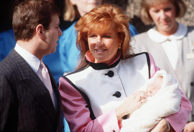 Prince Andrew with Sarah, Duchess Of York, and baby Princess Eugenie (Getty)