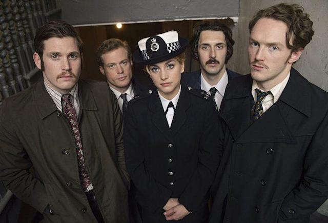 Tommy McDonnell as DC Hudson, Sam Reid as DCI Bradfield, Stefanie Martini as Jane Tennison, Blake Harrison as DS Gibbs, and Joshua Hill as DC Edwards in PBS's <i>Prime Suspect:<br>Tennison</i>. (Photo: Courtesy of ITV Studios and NoHo Film & Television for ITV and MASTERPIECE)
