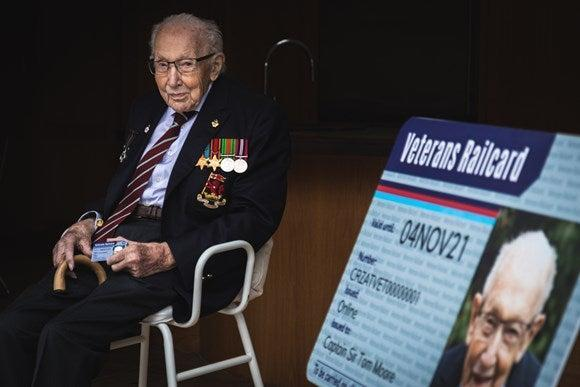 Honoured traveller: Captain Sir Tom Moore is the first recipient of the Veterans Railcard (Department for Transport)