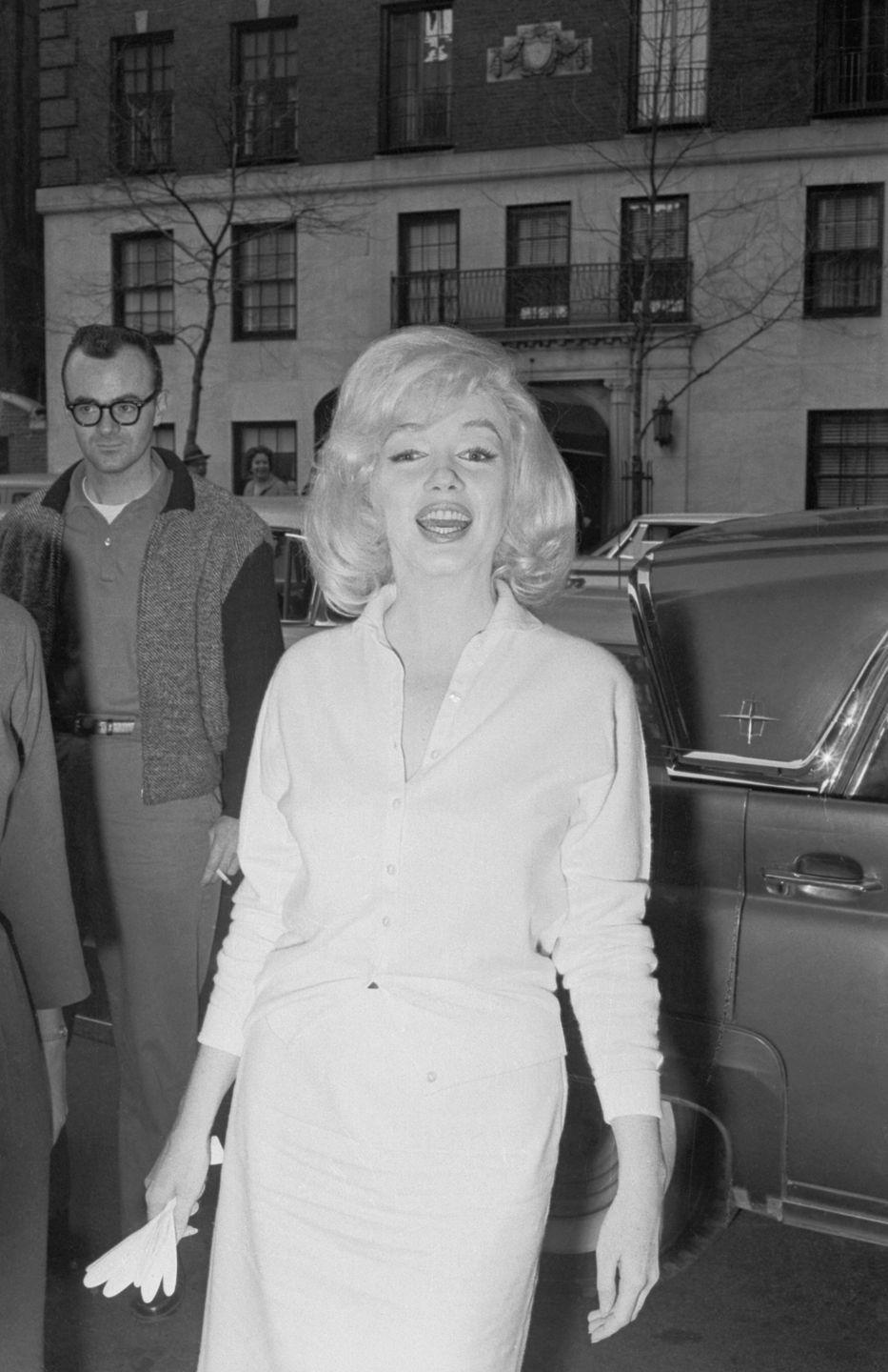 """<p>Marilyn struggled with depression and prescription drug addiction, and in February 1961, she was admitted to a psychiatric hospital in New York for """"exhaustion."""" Her ex-husband DiMaggio helped get her released. </p>"""