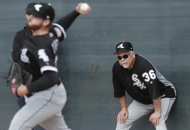 FILE - In this Feb. 16, 2019, file photo, Chicago White Sox manager Rick Renteria watches during a spring training baseball workout in Glendale, Ariz. The White Sox enter the season still believing they are setting themselves up for bigger things, despite missing out on the two prized free agents. (AP Photo/Morry Gash, File)