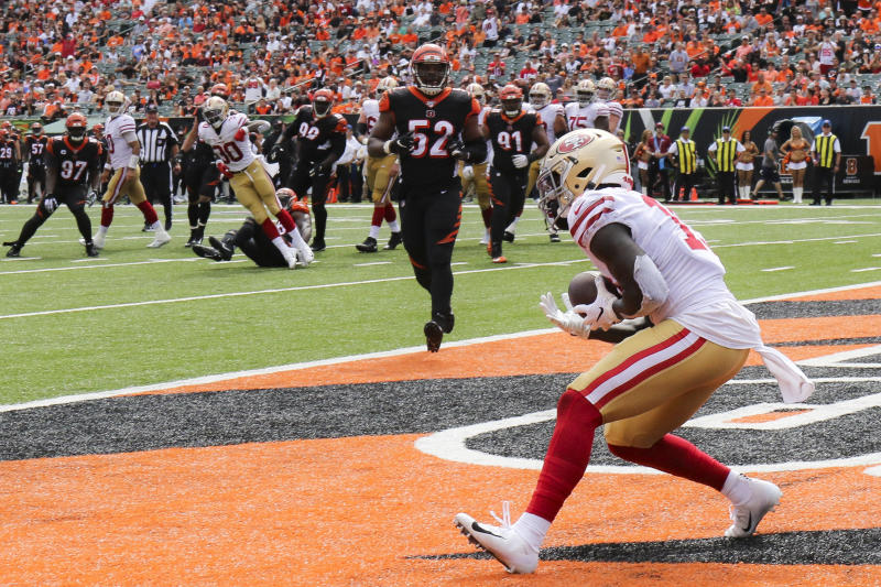 San Francisco 49ers wide receiver Deebo Samuel (19) catches a touchdown pass during the second half an NFL football game against the Cincinnati Bengals, Sunday, Sept. 15, 2019, in Cincinnati. (AP Photo/Gary Landers)