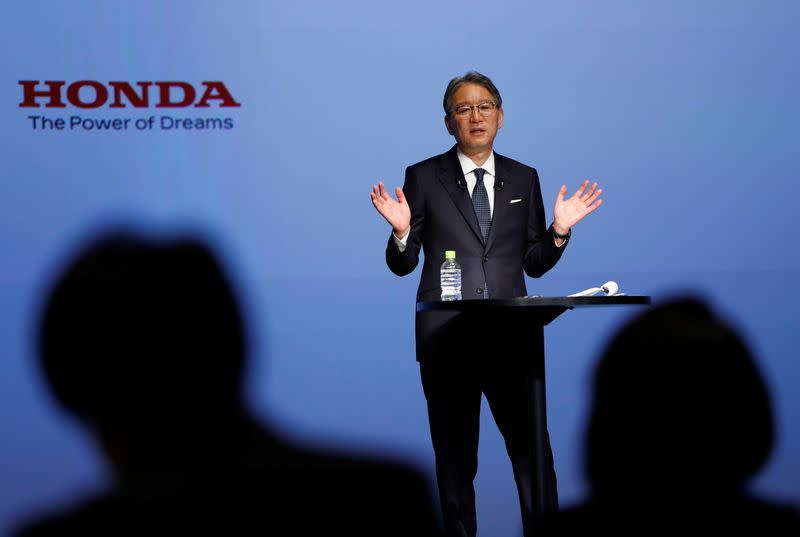 Honda Motor new CEO Toshihiro Mibe attends his inaugural news conference in Tokyo
