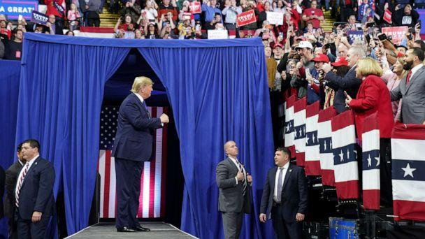 PHOTO: President Donald Trump arrives for a campaign rally at the University of Wisconsin-Milwaukee, in Milwaukee, Jan. 14, 2020. (Kevin Lamarque/Reuters)