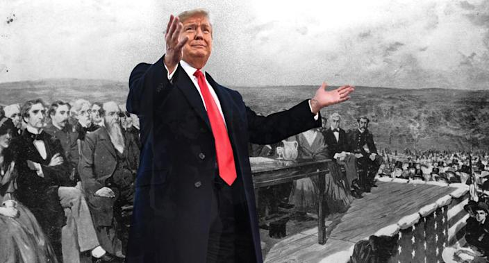 """<span class=""""s1"""">President Trump superimposed over a Fletcher C. Ransom painting of the scene during Lincoln's speech at the dedication of the Gettysburg National Cemetery in 1863. (Photo illustration: Yahoo News; photos: Nicholas Kamm/AFP/Getty Images, Library of Congress/Getty Images)</span>"""
