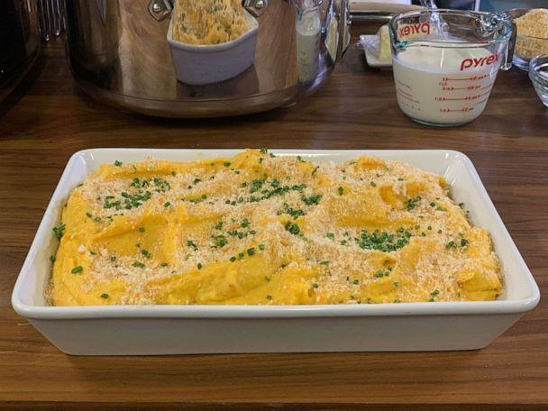 PHOTO: Jeff Mauro made his creamy slow cooker mashed root vegetables with crunchy top. (ABC News)