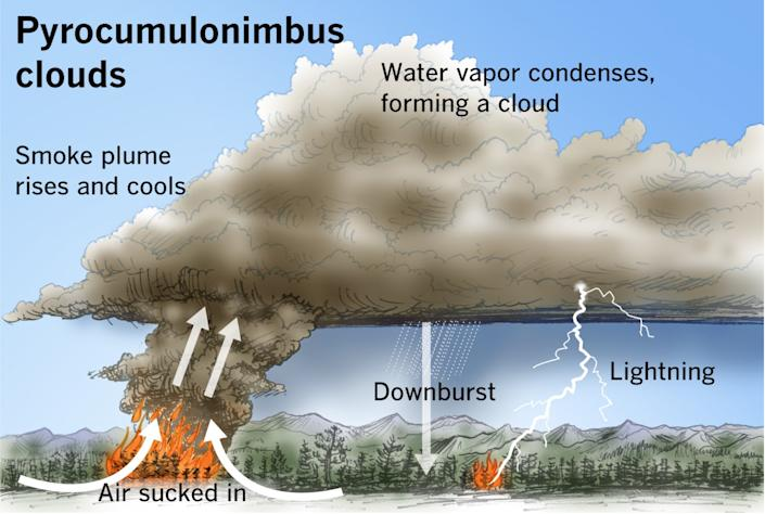 Illustration of clouds forming from air sucked in above a fire, smoke plume rising and cooling, and water vapor condensing