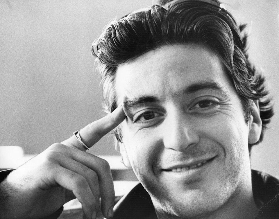 <p>Al Pacino, who played Michael Corleone, smiles in a portrait while on the set of <em>The Godfather</em>. </p>