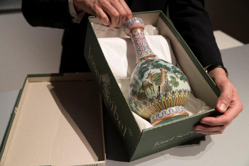The vase was made for the Qing dynasty Emperor Qianlong (AFP Photo/Thomas SAMSON)