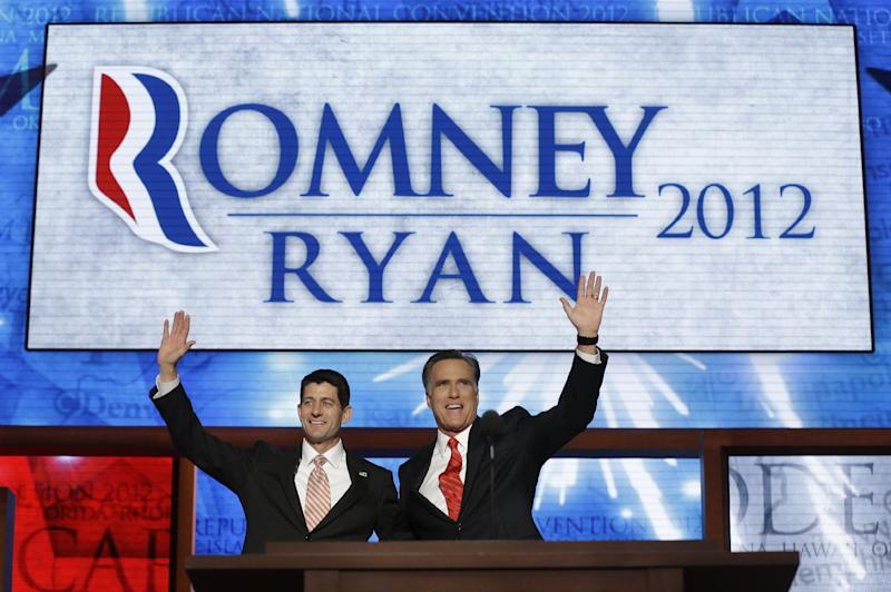 Republican presidential nominee Mitt Romney addresses delegates before speaking at the Republican National Convention in Tampa, Fla., on Thursday, Aug. 30, 2012. (AP Photo/Charles Dharapak)