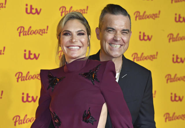 Ayda Field and Robbie Williams at ITV Palooza! held at The Royal Festival Hall. (London, England, UK)
