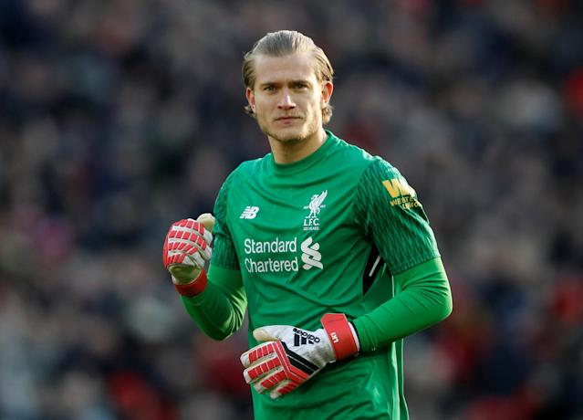 """Soccer Football - Premier League - Liverpool vs West Ham United - Anfield, Liverpool, Britain - February 24, 2018 Liverpool's Loris Karius Action Images via Reuters/Carl Recine EDITORIAL USE ONLY. No use with unauthorized audio, video, data, fixture lists, club/league logos or """"live"""" services. Online in-match use limited to 75 images, no video emulation. No use in betting, games or single club/league/player publications. Please contact your account representative for further details."""