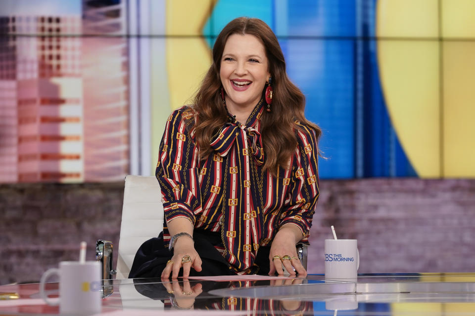 NEW YORK - MAY 11: Drew Barrymore willl join CBS This Morning Co-Hosts Gayle King and Anthony Mason as Guest Host on May 17th and 18th while Tony Dokoupil is on Parental leave, Live from the Broadcast Center in NY. Pictured: Drew Barrymore. (Photo by Michele Crowe/CBS via Getty Images)