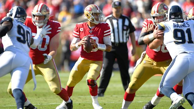 San Francisco 49ers run past Los Angeles Rams to remain undefeated