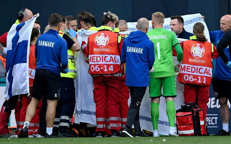 Christian Eriksson collapses: BBC forced to apologise for showing distressing images - AP