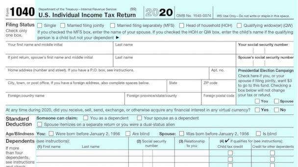 PHOTO: A 2020 Tax 1040 form is seen in a handout from the Internal Revenue Service. (IRS)