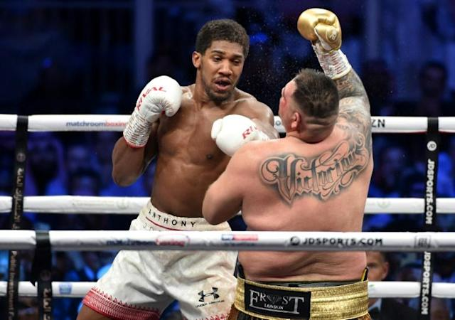 Anthony Joshua's promoter wants to stage his next fight in front of fans (AFP Photo/)