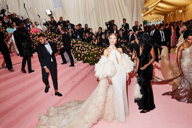 Rosie Huntington Whitley on the red carpet at the Met Gala in New York City on Monday, May 6th, 2019. Photograph by Amy Lombard for W Magazine.