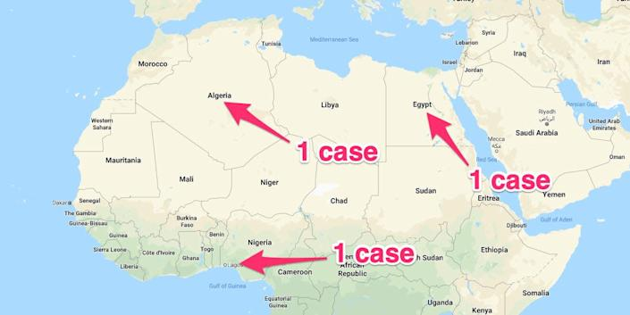 A map showing the three countries in Africa with confirmed coronavirus cases, accurate as of February 27.