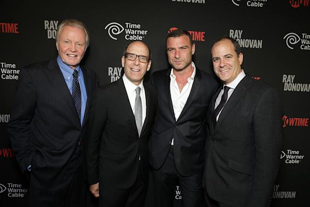 Jon Voight, Showtime Chairman and Chief Executive Officer, Matthew C. Blank; Liev Schreiber; Showtime President Of Entertainment, David Nevins, seen at the Showtime Premiere of the New Drama Series Ray Donovan presented by Time Warner Cable, on Tuesday, June, 25, 2013 in Los Angeles. (Photo by Eric Charbonneau/Invision for Showtime/AP Images)