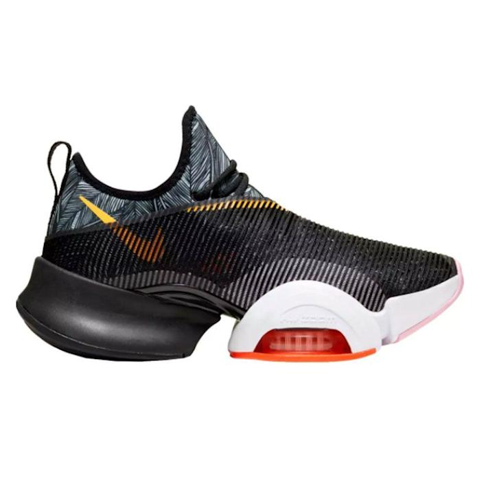 """<p><strong>Nike</strong></p><p>dickssportinggoods.com</p><p><strong>$109.97</strong></p><p><a href=""""https://go.redirectingat.com?id=74968X1596630&url=https%3A%2F%2Fwww.dickssportinggoods.com%2Fp%2Fnike-womens-air-zoom-superrep-training-shoes-19nikwrzmsprrpwhtprf%2F19nikwrzmsprrpwhtprf&sref=https%3A%2F%2Fwww.womenshealthmag.com%2Ffitness%2Fg19966106%2Fcross-training-sneaker-guide%2F"""" rel=""""nofollow noopener"""" target=""""_blank"""" data-ylk=""""slk:Shop Now"""" class=""""link rapid-noclick-resp"""">Shop Now</a></p><p>These next-level sneakers from Nike were constructed to absorb impact from high-intensity movement and provide cushion for lifts. They're made with a special plate that runs the length of your foot to support multidirectional movements by distributing pressure and activating responsive cushioning. </p><p><strong>Rave review: </strong>""""These have great traction for floor workouts, the design makes them perfect for burpees, and the wide heel base is great for squats. They hit on everything I do in my workouts and make for a more comfortable workout overall."""" <br>—AlexisRoseM43, <em><a href=""""https://go.redirectingat.com?id=74968X1596630&url=https%3A%2F%2Fwww.dickssportinggoods.com%2Fp%2Fnike-womens-air-zoom-superrep-training-shoes-19nikwrzmsprrpwhtprf%2F19nikwrzmsprrpwhtprf&sref=https%3A%2F%2Fwww.womenshealthmag.com%2Ffitness%2Fg19966106%2Fcross-training-sneaker-guide%2F"""" rel=""""nofollow noopener"""" target=""""_blank"""" data-ylk=""""slk:dickssportinggoods.com"""" class=""""link rapid-noclick-resp"""">dickssportinggoods.com</a></em></p>"""