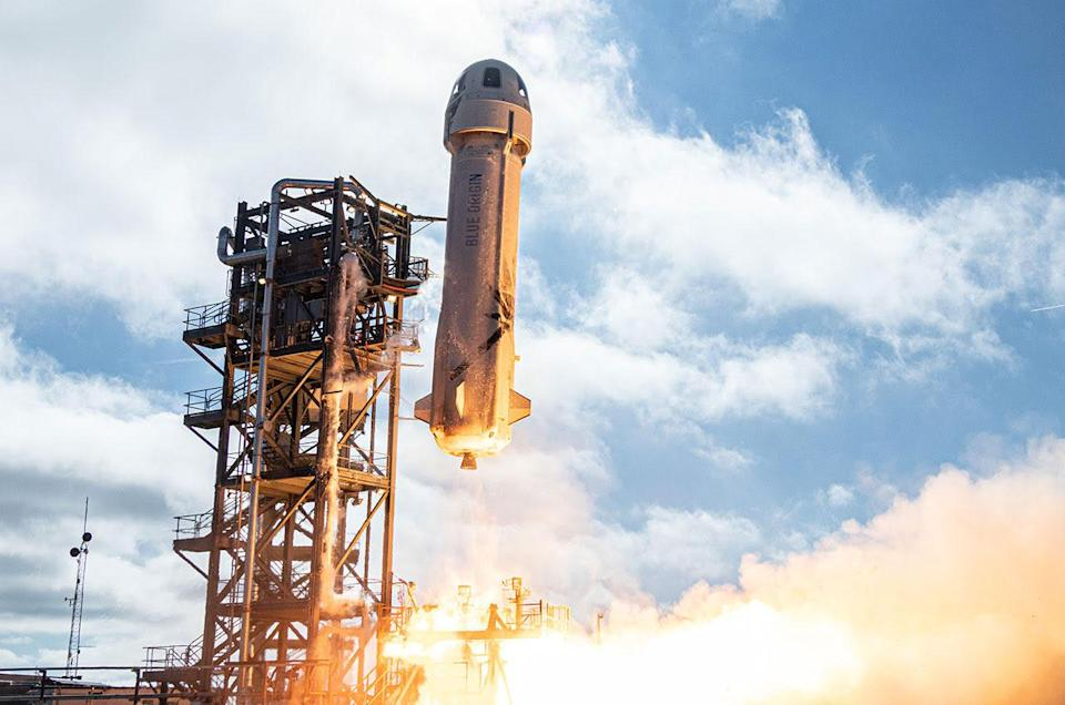 Liftoff of Blue Origin's New Shepard rocket on its twelfth suborbital mission to space and back from the company's West Texas launch site on Dec. 11, 2019. On board for this flight was the first batch of thousands of Club for the Future postcards.